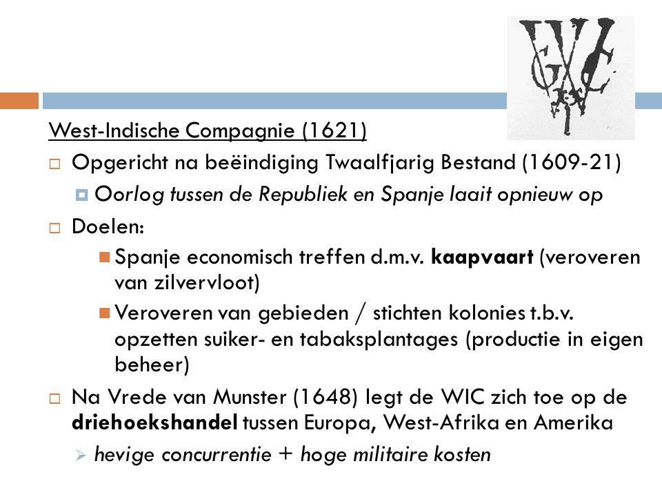 West-Indische Compagnie (1621)  Opgericht na beëindiging Twaalfjarig Bestand (1609-21)  Oorlog tussen de Republiek en Spanje laait opnieuw op  Doel