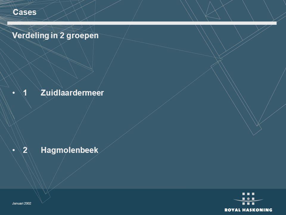 Januari 2002 Cases Verdeling in 2 groepen 1 Zuidlaardermeer 2 Hagmolenbeek