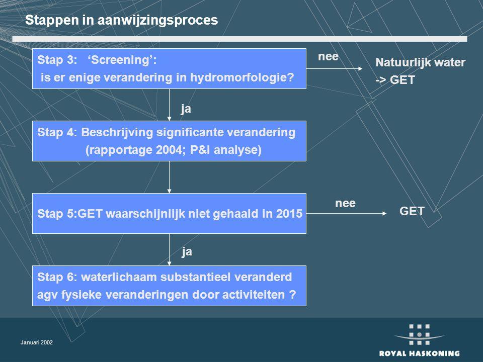 Januari 2002 Stappen in aanwijzingsproces Stap 3: 'Screening': is er enige verandering in hydromorfologie.