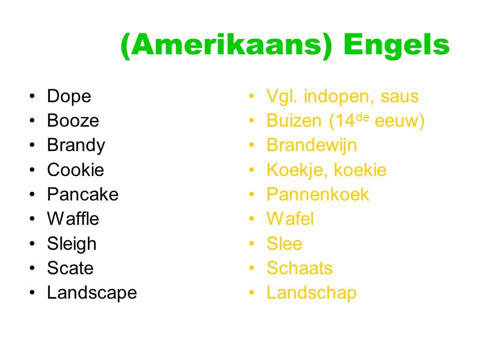 (Amerikaans) Engels Dope Booze Brandy Cookie Pancake Waffle Sleigh Scate Landscape Vgl. indopen, saus Buizen (14 de eeuw) Brandewijn Koekje, koekie Pa