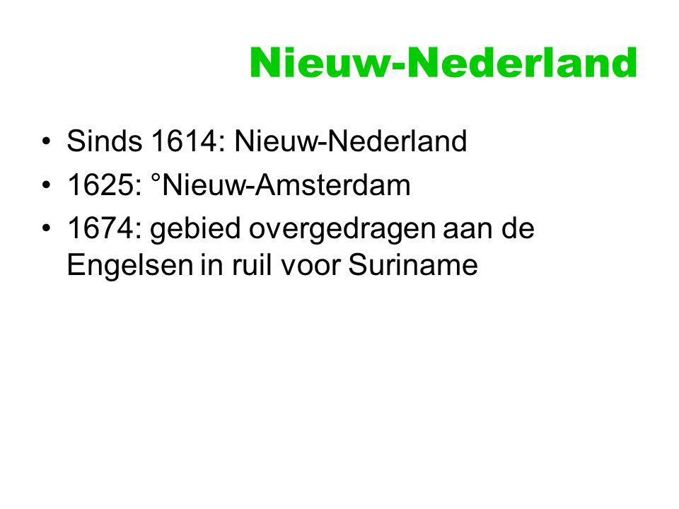 Nieuw-Nederland Sinds 1614: Nieuw-Nederland 1625: °Nieuw-Amsterdam 1674: gebied overgedragen aan de Engelsen in ruil voor Suriname
