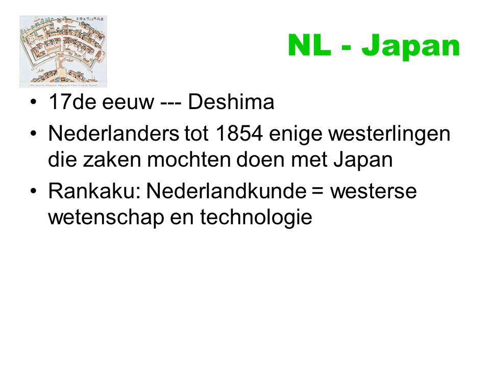 NL - Japan 17de eeuw --- Deshima Nederlanders tot 1854 enige westerlingen die zaken mochten doen met Japan Rankaku: Nederlandkunde = westerse wetensch
