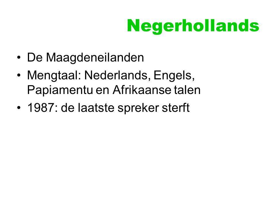 Negerhollands De Maagdeneilanden Mengtaal: Nederlands, Engels, Papiamentu en Afrikaanse talen 1987: de laatste spreker sterft