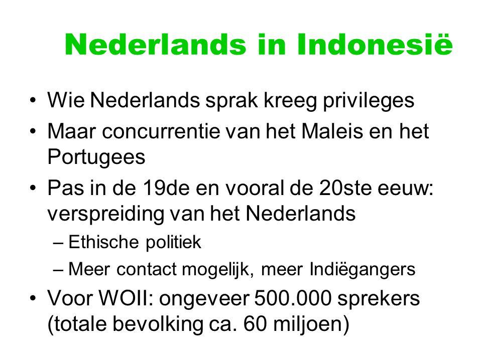 Nederlands in Indonesië Wie Nederlands sprak kreeg privileges Maar concurrentie van het Maleis en het Portugees Pas in de 19de en vooral de 20ste eeuw