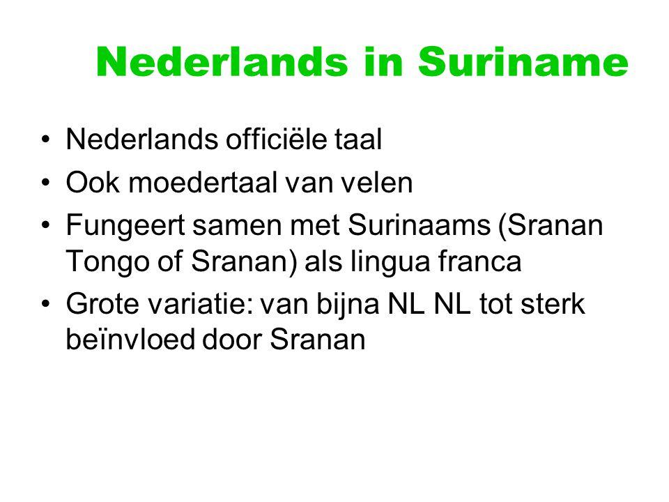 Nederlands in Suriname Nederlands officiële taal Ook moedertaal van velen Fungeert samen met Surinaams (Sranan Tongo of Sranan) als lingua franca Grot