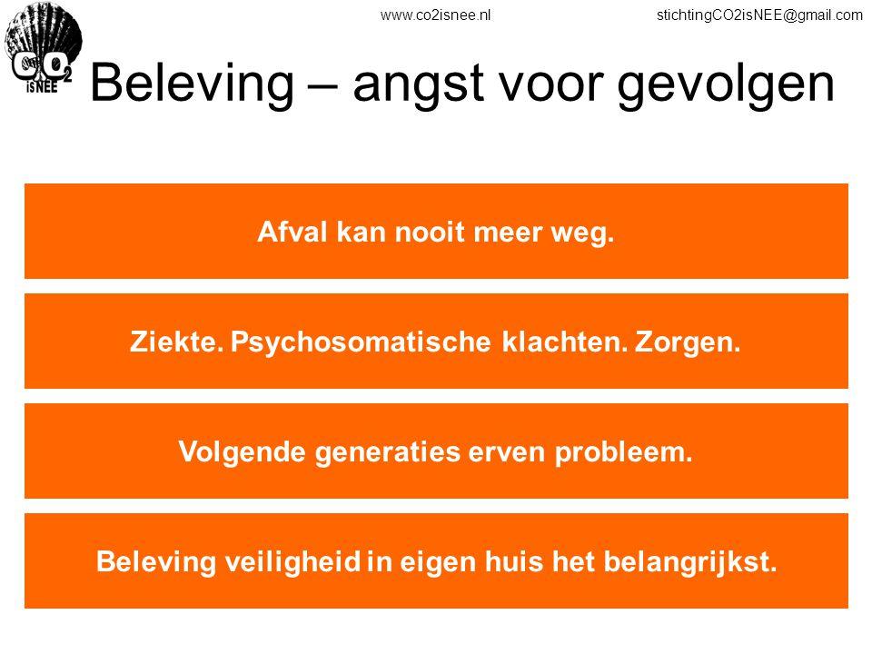 www.co2isnee.nlstichtingCO2isNEE@gmail.com Beleving – angst voor gevolgen Afval kan nooit meer weg. Ziekte. Psychosomatische klachten. Zorgen. Volgend