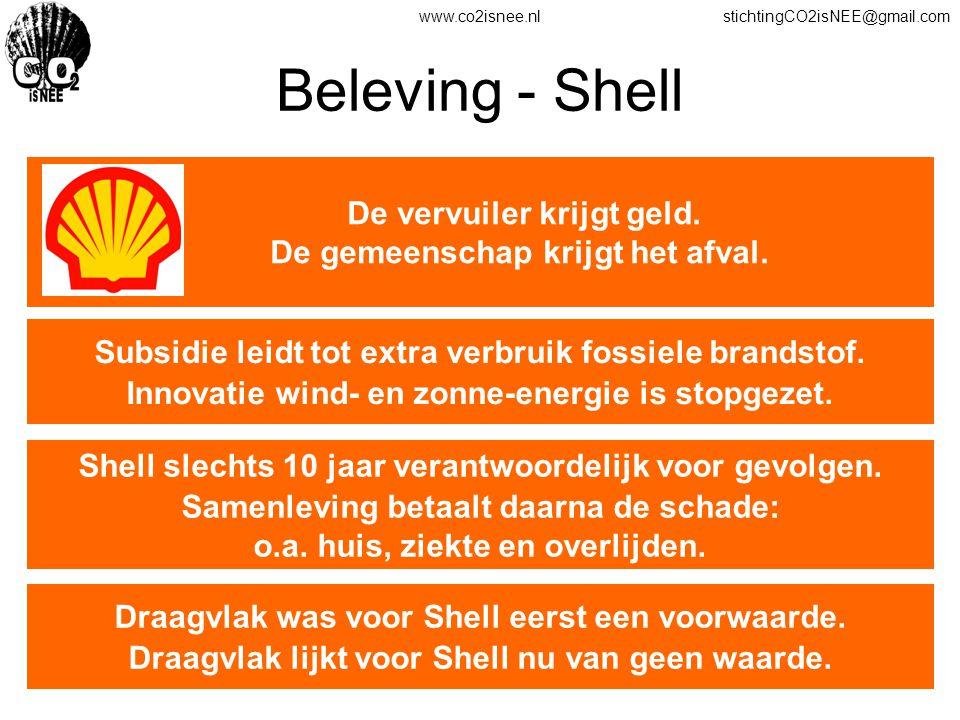 www.co2isnee.nlstichtingCO2isNEE@gmail.com Beleving - Shell De vervuiler krijgt geld. De gemeenschap krijgt het afval. Subsidie leidt tot extra verbru