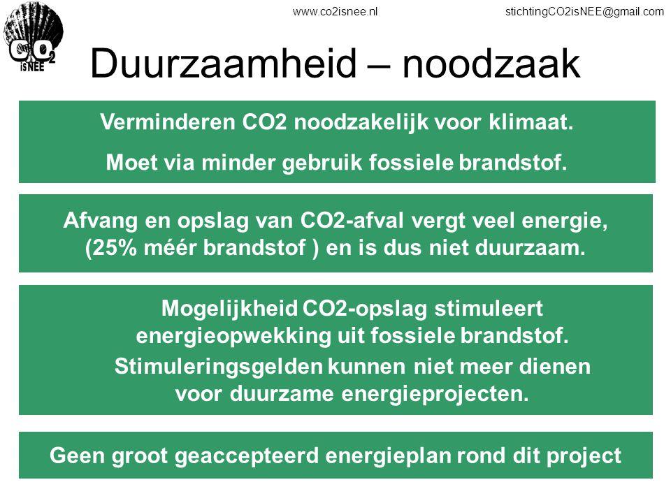www.co2isnee.nlstichtingCO2isNEE@gmail.com Duurzaamheid – noodzaak Verminderen CO2 noodzakelijk voor klimaat. Moet via minder gebruik fossiele brandst