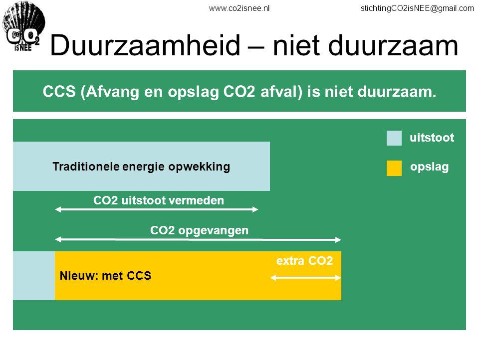 www.co2isnee.nlstichtingCO2isNEE@gmail.com Duurzaamheid – niet duurzaam CCS (Afvang en opslag CO2 afval) is niet duurzaam. Traditionele energie opwekk
