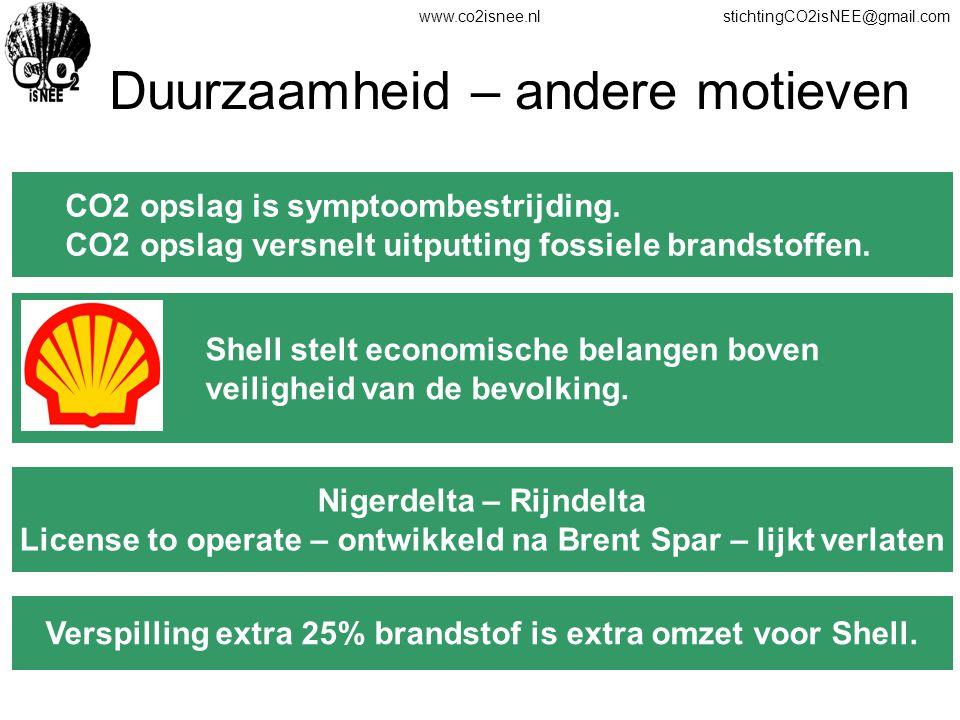 www.co2isnee.nlstichtingCO2isNEE@gmail.com Duurzaamheid – andere motieven CO2 opslag is symptoombestrijding. CO2 opslag versnelt uitputting fossiele b