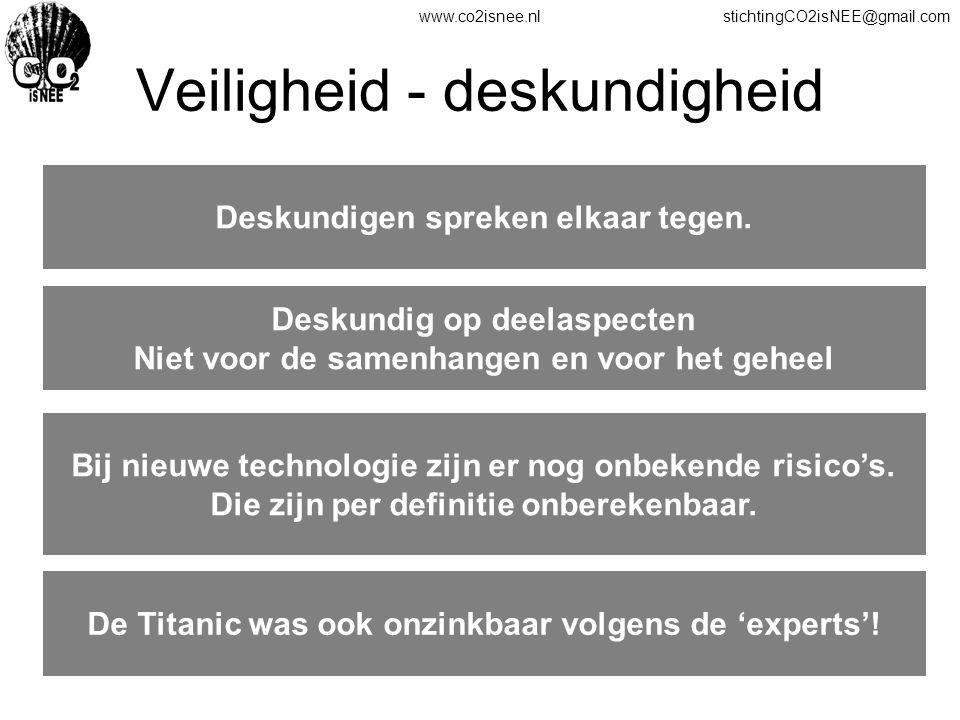 www.co2isnee.nlstichtingCO2isNEE@gmail.com Veiligheid - deskundigheid Deskundigen spreken elkaar tegen. Deskundig op deelaspecten Niet voor de samenha