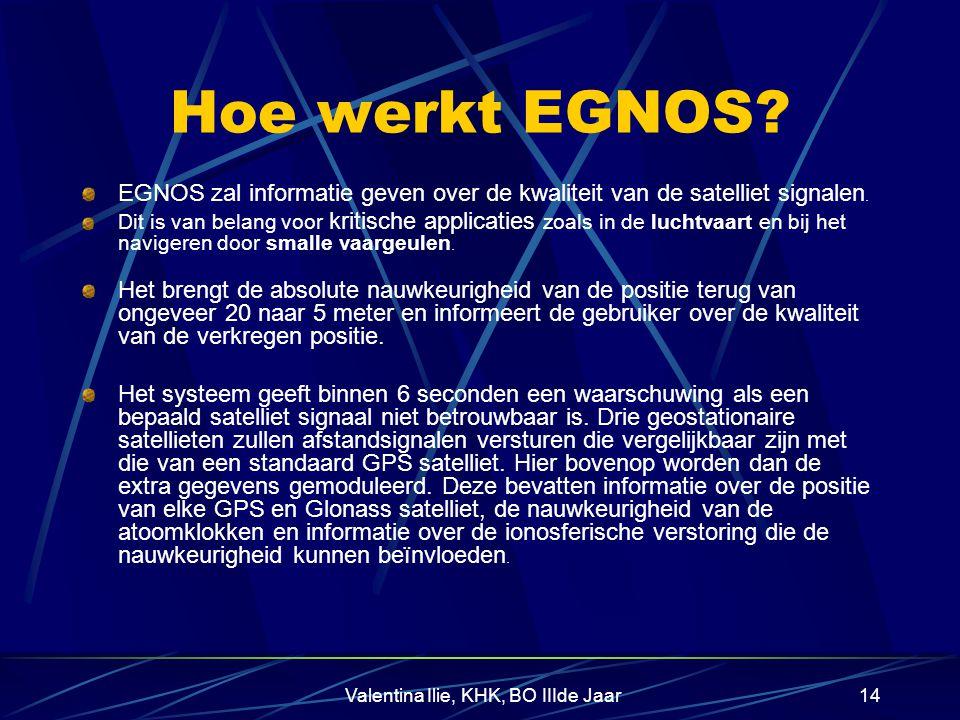 Valentina Ilie, KHK, BO IIIde Jaar13 Wat is EGNOS? II EGNOS gaat een netwerk van grondstations gebruiken die zowel de GPS satellieten als de Russische