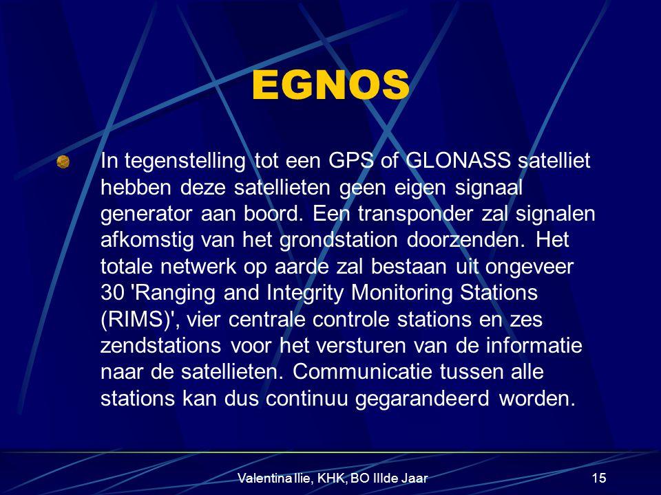 Valentina Ilie, KHK, BO IIIde Jaar14 Hoe werkt EGNOS? EGNOS zal informatie geven over de kwaliteit van de satelliet signalen. Dit is van belang voor k