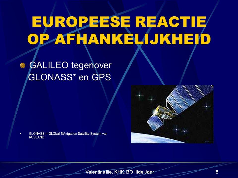 Valentina Ilie, KHK, BO IIIde Jaar8 EUROPEESE REACTIE OP AFHANKELIJKHEID GALILEO tegenover GLONASS* en GPS GLONASS = GLObal NAvigation Satellite System van RUSLAND