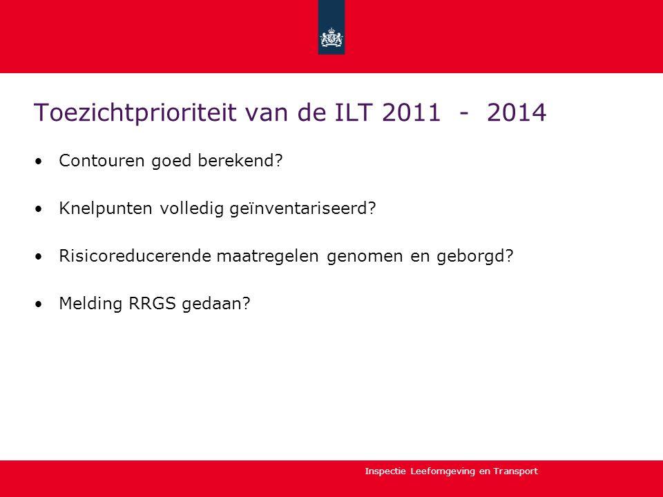 Inspectie Leefomgeving en Transport Toezichtprioriteit van de ILT 2011 - 2014 Contouren goed berekend? Knelpunten volledig geïnventariseerd? Risicored