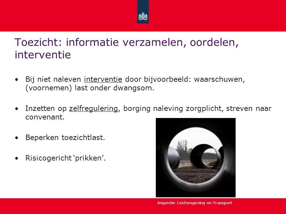 Inspectie Leefomgeving en Transport Toezicht: informatie verzamelen, oordelen, interventie Bij niet naleven interventie door bijvoorbeeld: waarschuwen