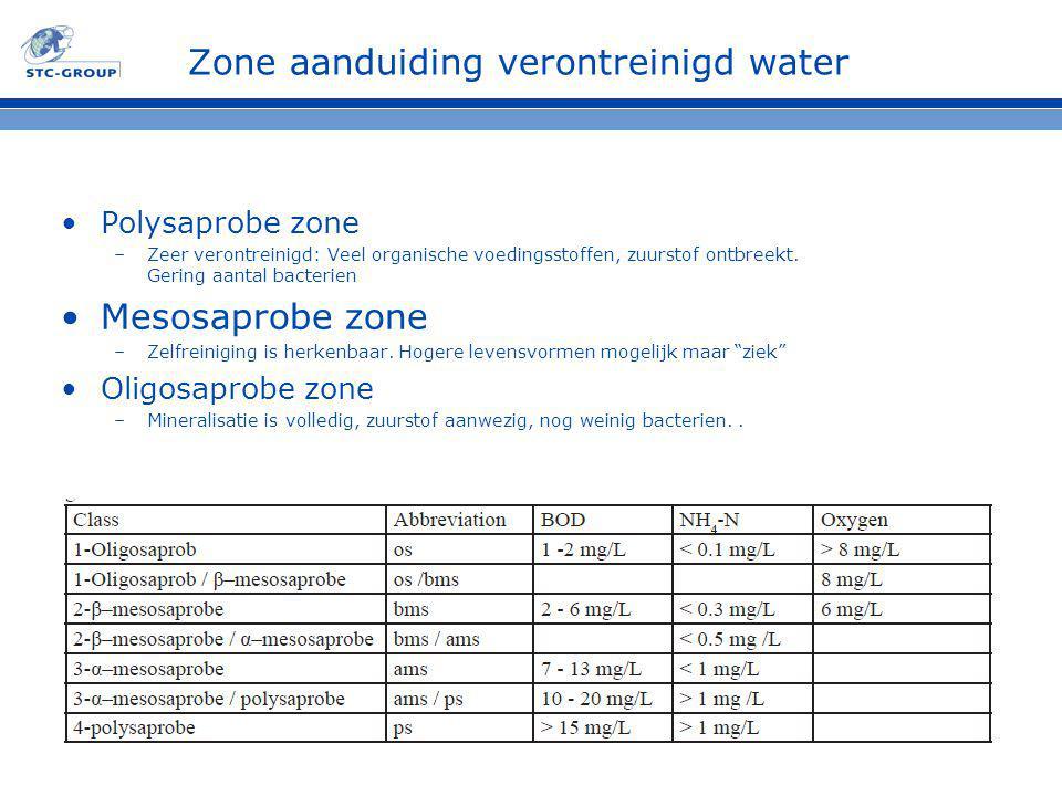 Zone aanduiding verontreinigd water Polysaprobe zone –Zeer verontreinigd: Veel organische voedingsstoffen, zuurstof ontbreekt. Gering aantal bacterien