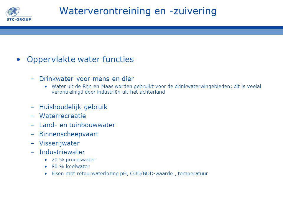 Waterverontreining en -zuivering Oppervlakte water functies –Drinkwater voor mens en dier Water uit de Rijn en Maas worden gebruikt voor de drinkwaterwingebieden; dit is veelal verontreinigd door industriën uit het achterland –Huishoudelijk gebruik –Waterrecreatie –Land- en tuinbouwwater –Binnenscheepvaart –Visserijwater –Industriewater 20 % proceswater 80 % koelwater Eisen mbt retourwaterlozing pH, COD/BOD-waarde, temperatuur