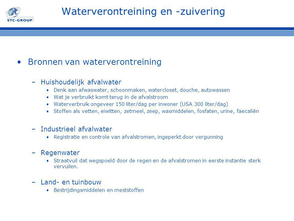 Waterverontreining en -zuivering Bronnen van waterverontreining –Huishoudelijk afvalwater Denk aan afwaswater, schoonmaken, watercloset, douche, autow