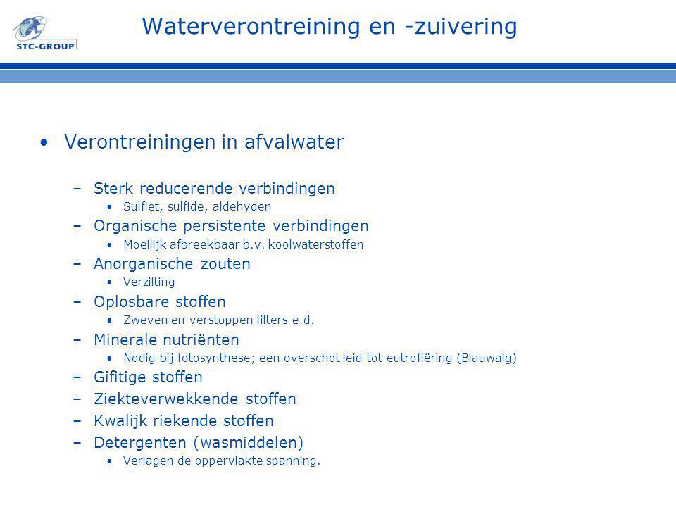 Waterverontreining en -zuivering Verontreiningen in afvalwater –Sterk reducerende verbindingen Sulfiet, sulfide, aldehyden –Organische persistente verbindingen Moeilijk afbreekbaar b.v.