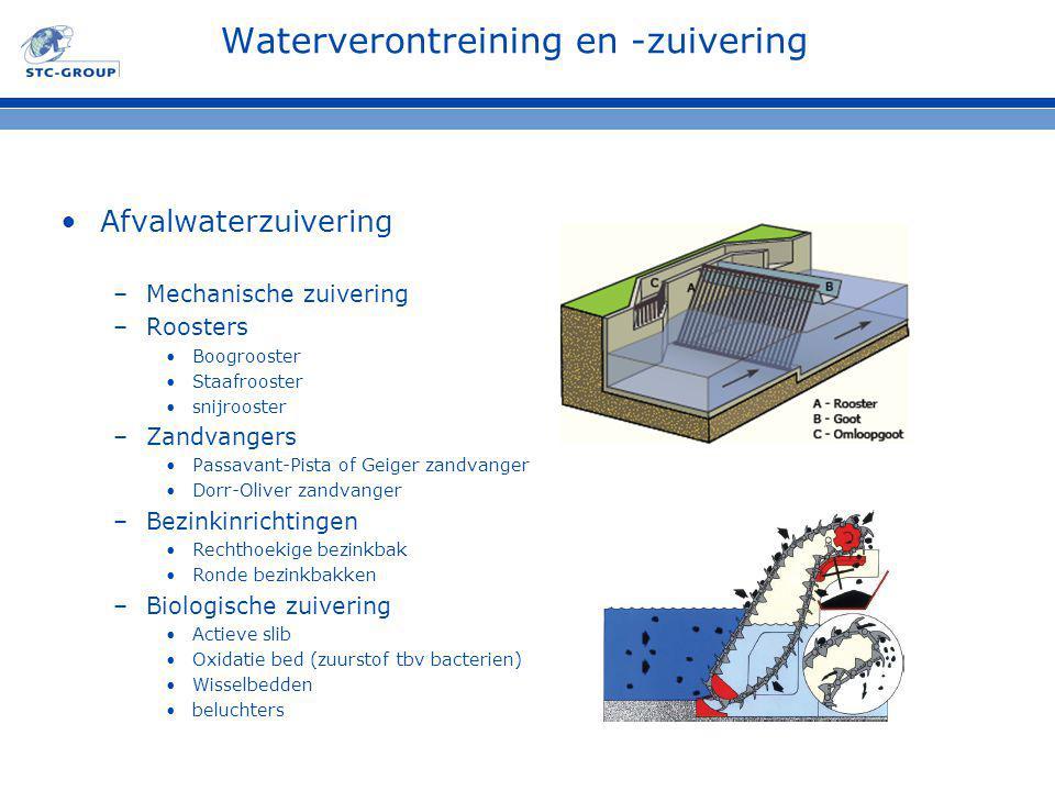 Waterverontreining en -zuivering Afvalwaterzuivering –Mechanische zuivering –Roosters Boogrooster Staafrooster snijrooster –Zandvangers Passavant-Pist
