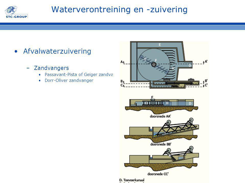 Waterverontreining en -zuivering Afvalwaterzuivering –Zandvangers Passavant-Pista of Geiger zandvanger Dorr-Oliver zandvanger