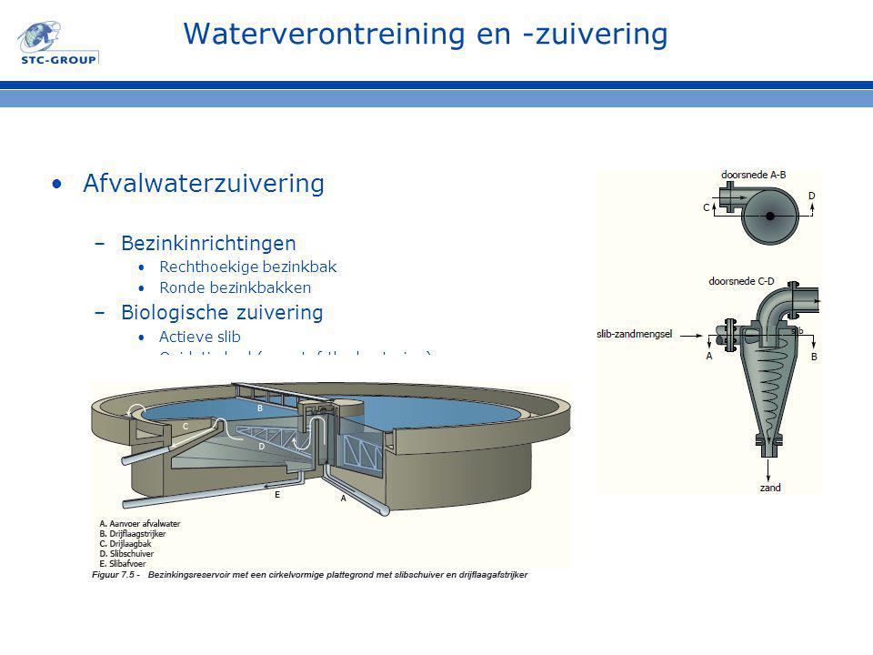 Waterverontreining en -zuivering Afvalwaterzuivering –Bezinkinrichtingen Rechthoekige bezinkbak Ronde bezinkbakken –Biologische zuivering Actieve slib