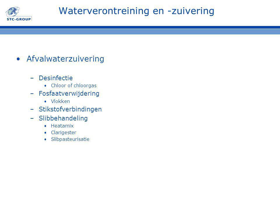 Waterverontreining en -zuivering Afvalwaterzuivering –Desinfectie Chloor of chloorgas –Fosfaatverwijdering Vlokken –Stikstofverbindingen –Slibbehandeling Heatamix Clarigester Slibpasteurisatie