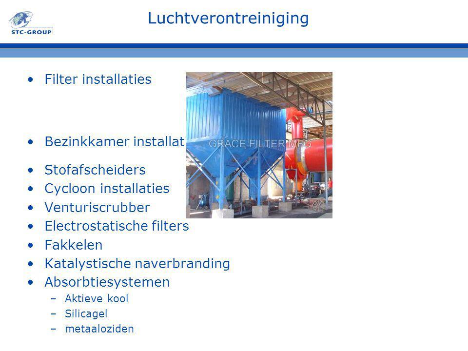 Filter installaties Bezinkkamer installatie Stofafscheiders Cycloon installaties Venturiscrubber Electrostatische filters Fakkelen Katalystische naver