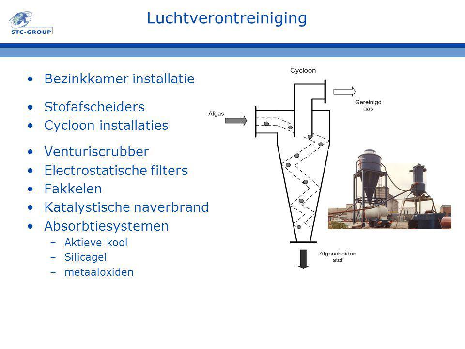 Luchtverontreiniging Bezinkkamer installatie Stofafscheiders Cycloon installaties Venturiscrubber Electrostatische filters Fakkelen Katalystische nave