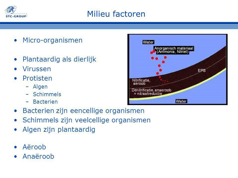 Milieu factoren Micro-organismen Plantaardig als dierlijk Virussen Protisten –Algen –Schimmels –Bacterien Bacterien zijn eencellige organismen Schimmels zijn veelcellige organismen Algen zijn plantaardig Aëroob Anaëroob