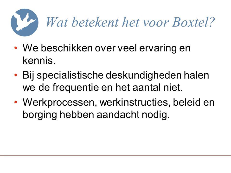 Wat betekent het voor Boxtel? We beschikken over veel ervaring en kennis. Bij specialistische deskundigheden halen we de frequentie en het aantal niet