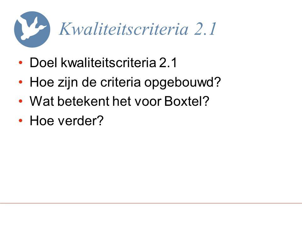Kwaliteitscriteria 2.1 Doel kwaliteitscriteria 2.1 Hoe zijn de criteria opgebouwd? Wat betekent het voor Boxtel? Hoe verder?