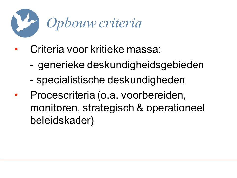 Opbouw criteria Criteria voor kritieke massa: -generieke deskundigheidsgebieden - specialistische deskundigheden Procescriteria (o.a. voorbereiden, mo