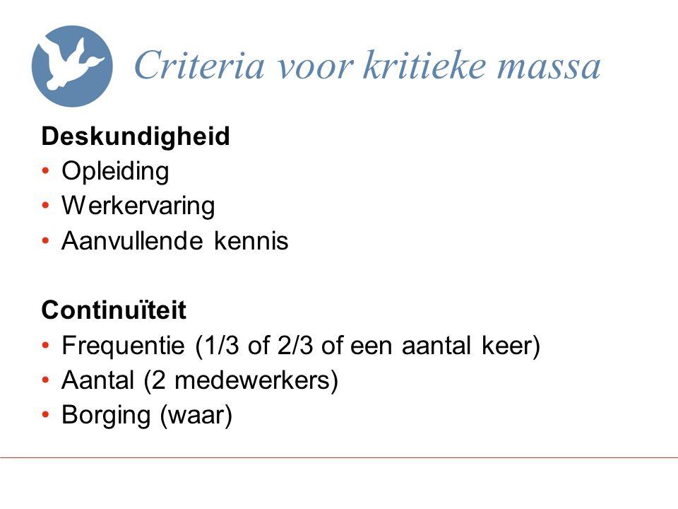 Criteria voor kritieke massa
