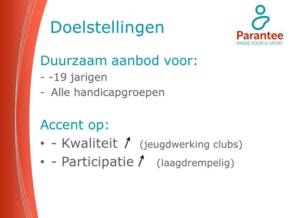Doelstellingen Duurzaam aanbod voor: - -19 jarigen -Alle handicapgroepen Accent op: - Kwaliteit (jeugdwerking clubs) - Participatie (laagdrempelig)