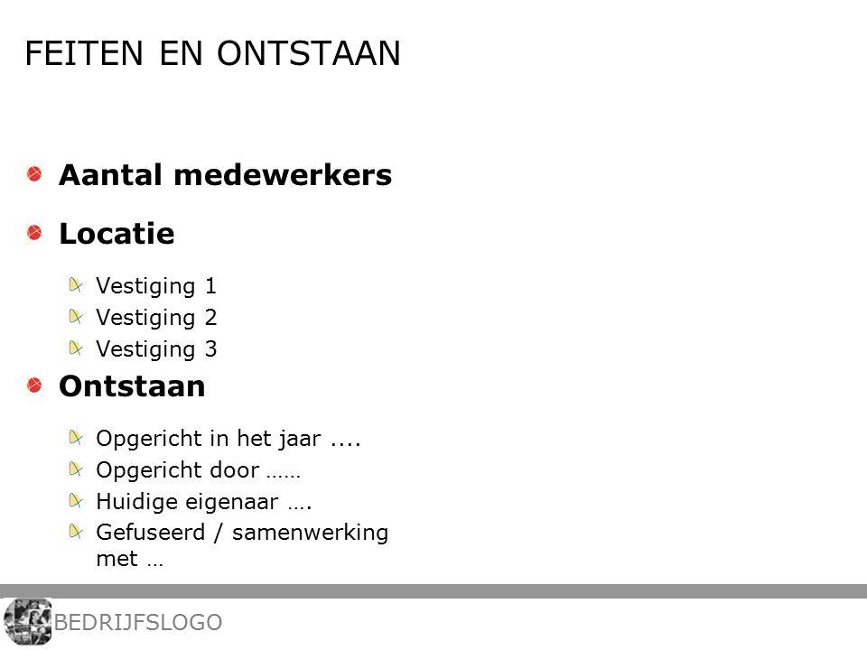 FEITEN EN ONTSTAAN Aantal medewerkers Locatie Vestiging 1 Vestiging 2 Vestiging 3 Ontstaan Opgericht in het jaar....