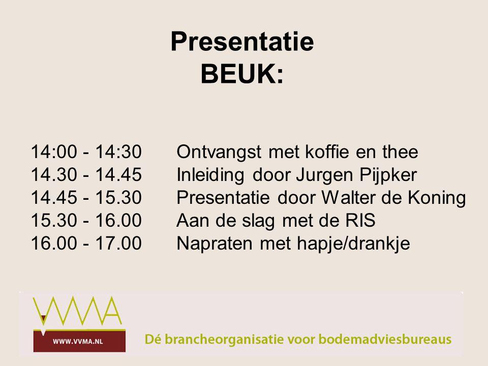 14:00 - 14:30Ontvangst met koffie en thee 14.30 - 14.45Inleiding door Jurgen Pijpker 14.45 - 15.30Presentatie door Walter de Koning 15.30 - 16.00Aan de slag met de RIS 16.00 - 17.00Napraten met hapje/drankje Presentatie BEUK: