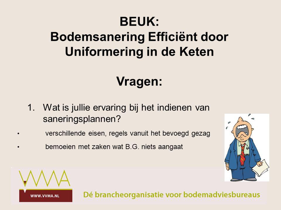 verschillende eisen, regels vanuit het bevoegd gezag BEUK: Bodemsanering Efficiënt door Uniformering in de Keten Vragen: 1.Wat is jullie ervaring bij het indienen van saneringsplannen.