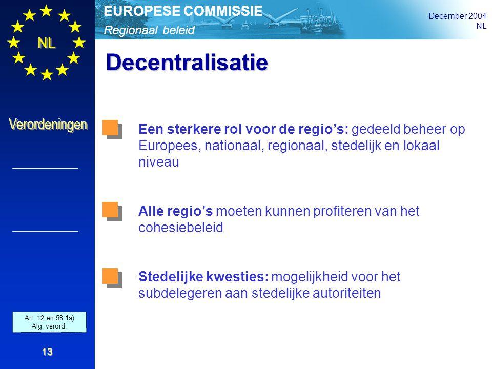 Regionaal beleid EUROPESE COMMISSIE December 2004 NL Verordeningen 13 Decentralisatie Een sterkere rol voor de regio's: gedeeld beheer op Europees, na