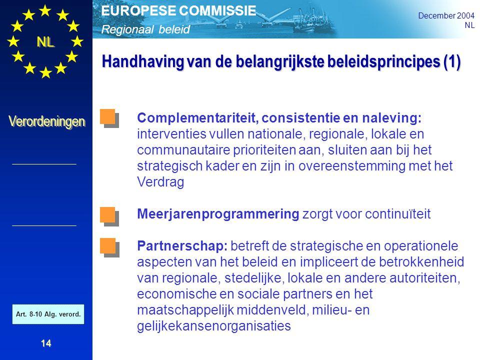 Regionaal beleid EUROPESE COMMISSIE December 2004 NL Verordeningen 14 Handhaving van de belangrijkste beleidsprincipes (1) Complementariteit, consiste