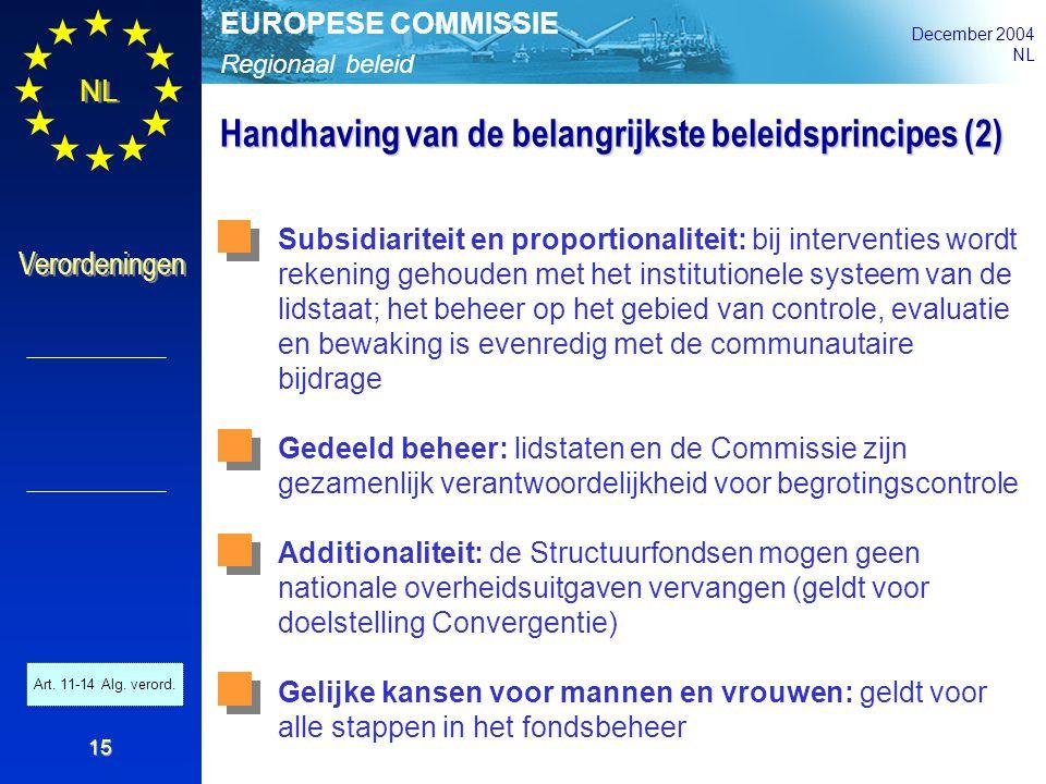 Regionaal beleid EUROPESE COMMISSIE December 2004 NL Verordeningen 15 Handhaving van de belangrijkste beleidsprincipes (2) Subsidiariteit en proportio