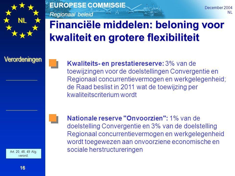 Regionaal beleid EUROPESE COMMISSIE December 2004 NL Verordeningen 16 Financiële middelen: beloning voor kwaliteit en grotere flexibiliteit Kwaliteits