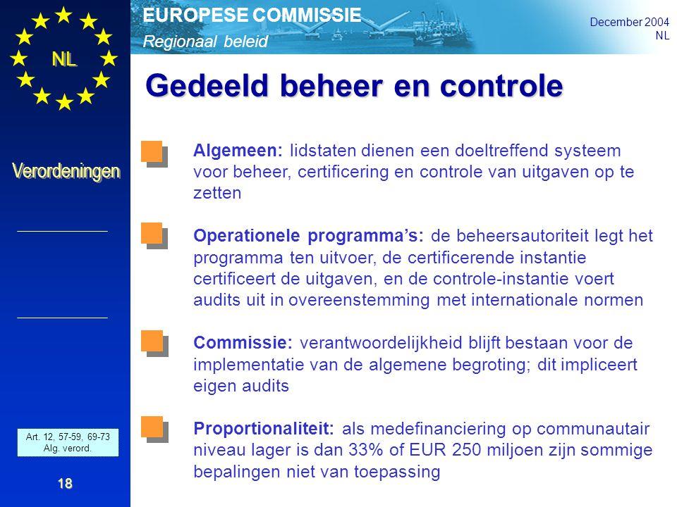 Regionaal beleid EUROPESE COMMISSIE December 2004 NL Verordeningen 18 Gedeeld beheer en controle Art. 42 - 46 and 52 - 54 Gen.Reg. Algemeen: lidstaten