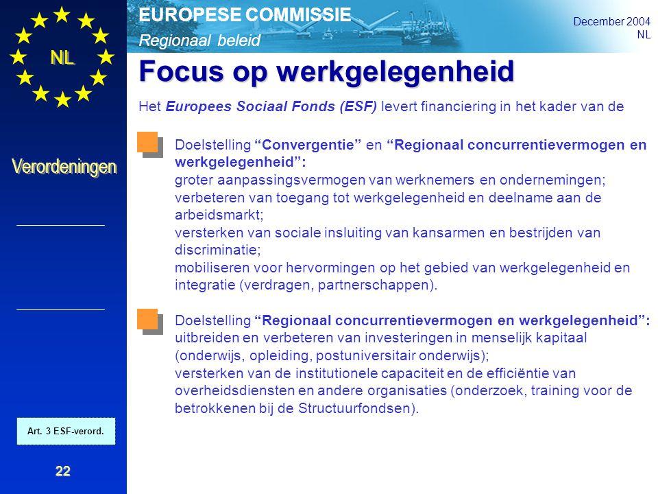 Regionaal beleid EUROPESE COMMISSIE December 2004 NL Verordeningen 22 Focus op werkgelegenheid Het Europees Sociaal Fonds (ESF) levert financiering in