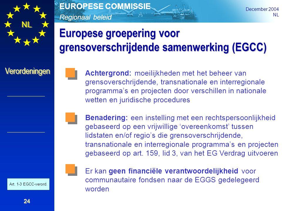 Regionaal beleid EUROPESE COMMISSIE December 2004 NL Verordeningen 24 Europese groepering voor grensoverschrijdende samenwerking (EGCC) Achtergrond: m