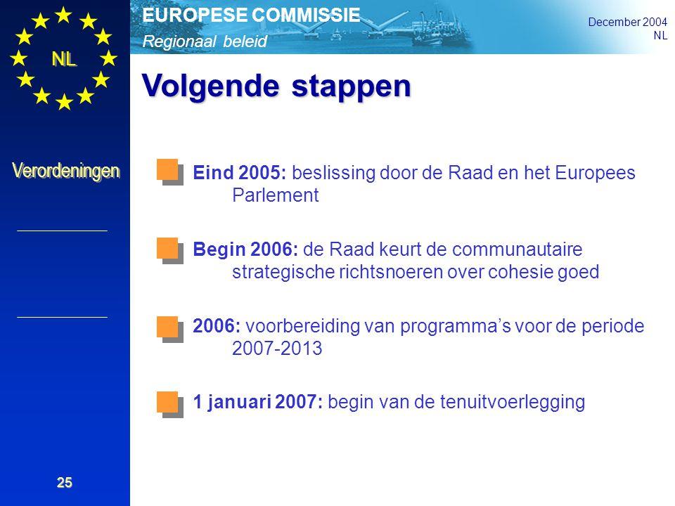 Regionaal beleid EUROPESE COMMISSIE December 2004 NL Verordeningen 25 Volgende stappen Eind 2005: beslissing door de Raad en het Europees Parlement Be