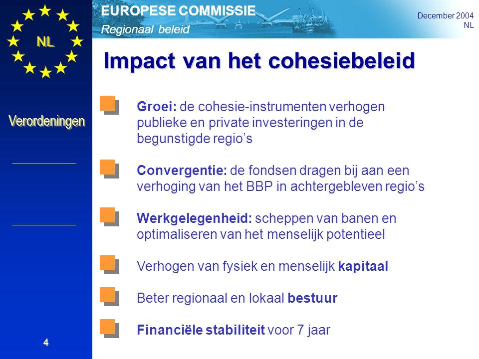 Regionaal beleid EUROPESE COMMISSIE December 2004 NL Verordeningen 4 Groei: de cohesie-instrumenten verhogen publieke en private investeringen in de b