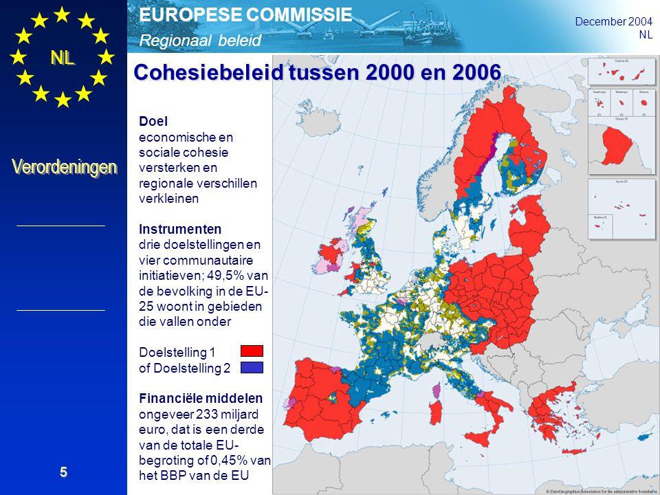 Regionaal beleid EUROPESE COMMISSIE December 2004 NL Verordeningen 5 Doel economische en sociale cohesie versterken en regionale verschillen verkleine