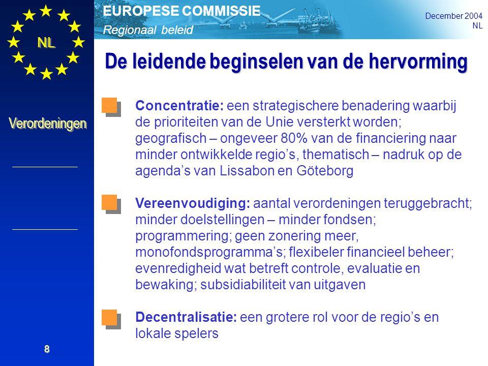 Regionaal beleid EUROPESE COMMISSIE December 2004 NL Verordeningen 8 De leidende beginselen van de hervorming Concentratie: een strategischere benader